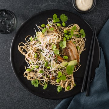 Pork Belly with Soba Noodle Salad & Smoked Miso Aioli