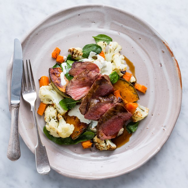 Beef Sirloin Steaks with Winter Veg and Balsamic Jus