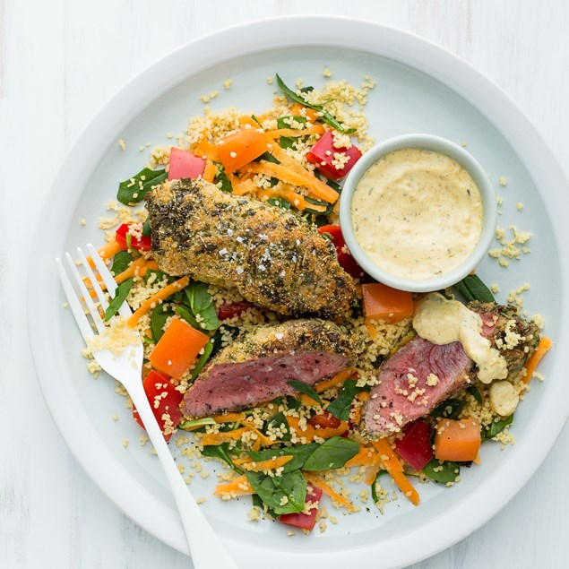 Polenta-Crusted Lamb Rump with Veggie Couscous and Chermoula Mayo
