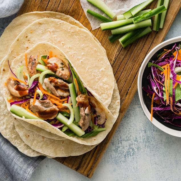 Asian Chicken Wraps with Hoisin & Sesame Slaw