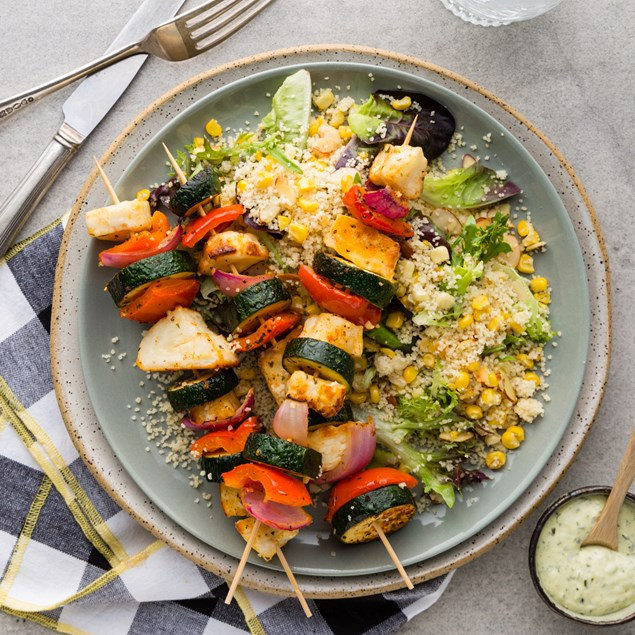 Grilled Haloumi Skewers with Couscous & Chimichurri Yoghurt