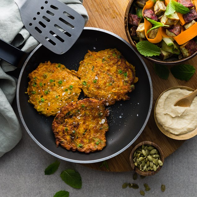 Moroccan Pea and Courgette Fritters with Kumara Salad and Hummus