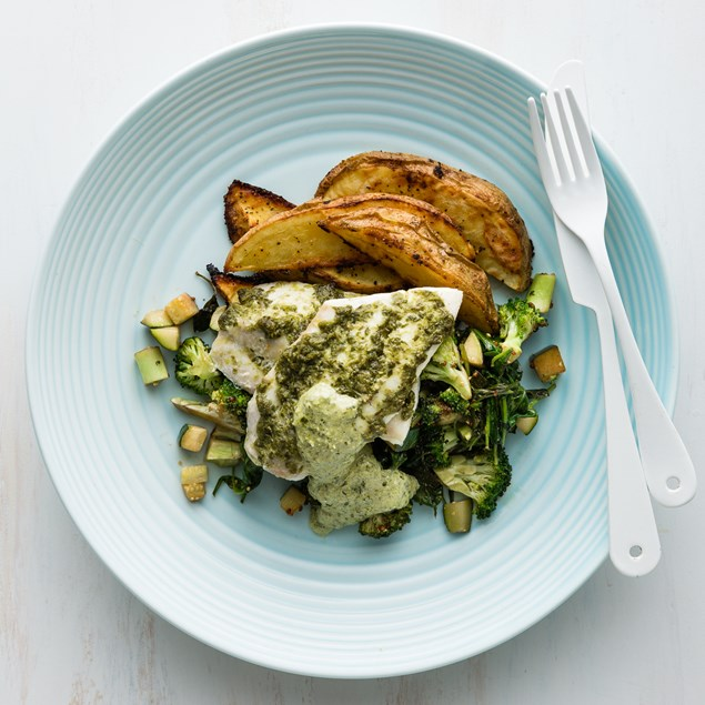 Caper Baked Fish with Lemon Pepper Wedges and Charred Broccoli
