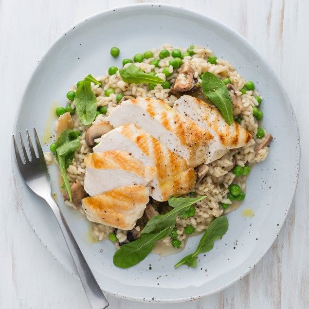 Grilled Chicken and Mushroom Risotto with Rocket