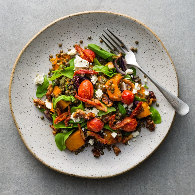 Warm Roast Pumpkin and Puy Lentil Salad with Candied Walnuts