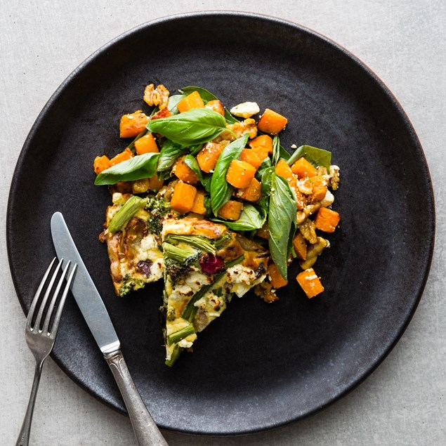 Southern Flame Yam Frittata with Pumpkin and Spinach Salad
