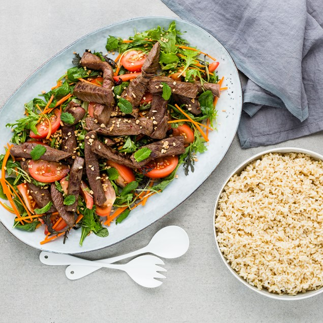 Shaking Beef Salad with Brown Rice