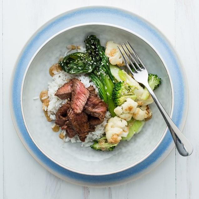 Japanese Beef Steak with Sesame Veggies and Goma Dare Sauce