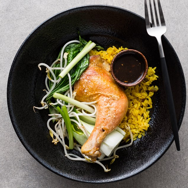 Confit Roast Chicken with Turmeric Rice and Asian Greens