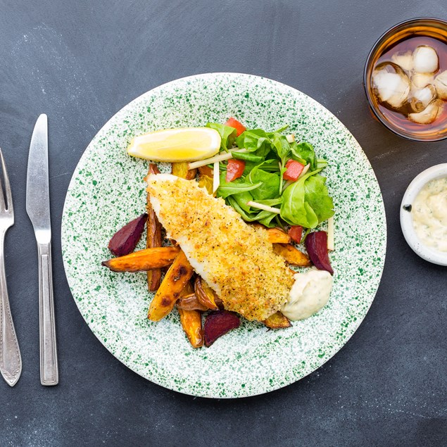 Lemon Pepper Fish with Veggie Chips and Salad