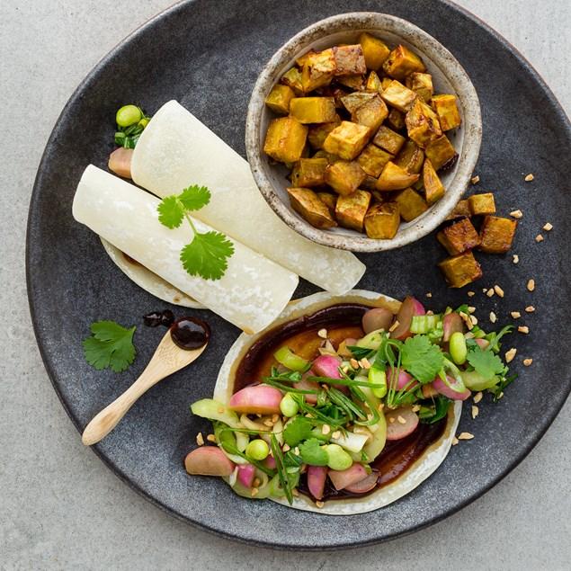 Ginger Soy Stir-Fry with Chinese Pancakes and Honey-Hoisin Kumara