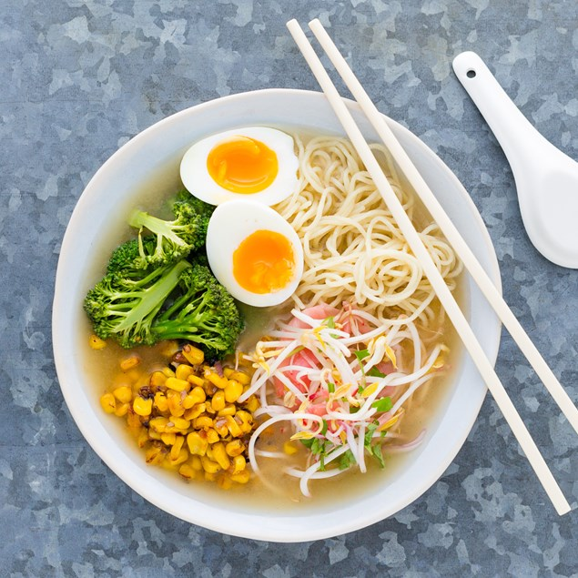 Ramen with Spiced Corn and Pickled Ginger Salad