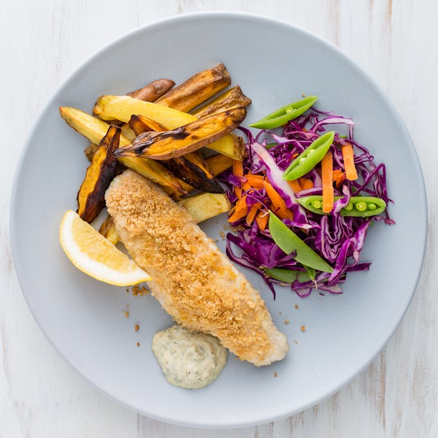 Fish 'n' Chips with Tartare Sauce and Slaw
