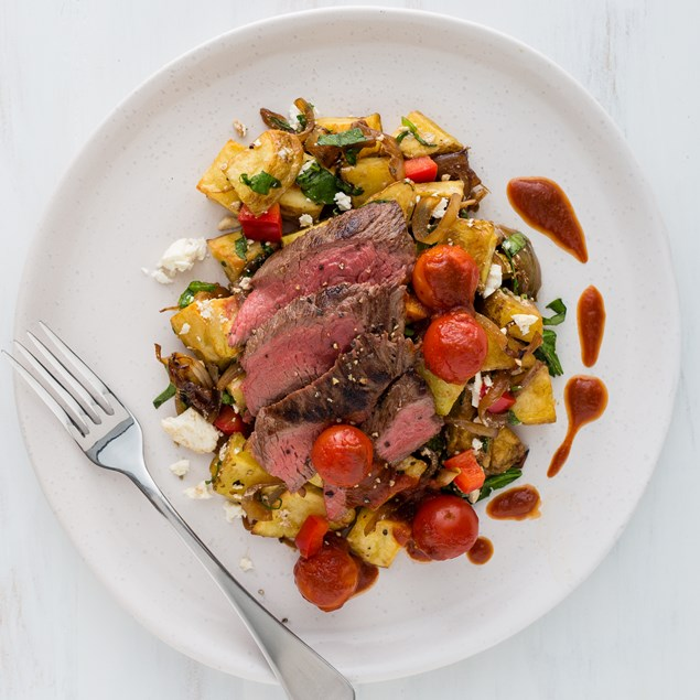 Marinated Beef with Feta Potatoes and Balsamic Tomatoes