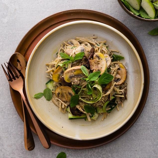Balsamic Mushroom Spaghetti with Bullwinkle Rocket Salad