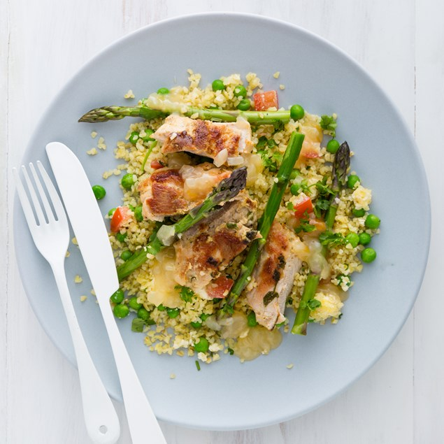 Apricot and Tarragon Chicken with Pea, Asparagus and Feta Bulgur