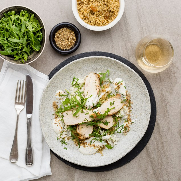 Earth Spiced Chicken with Quinoa, Cauliflower Couscous and Dukkah Yoghurt