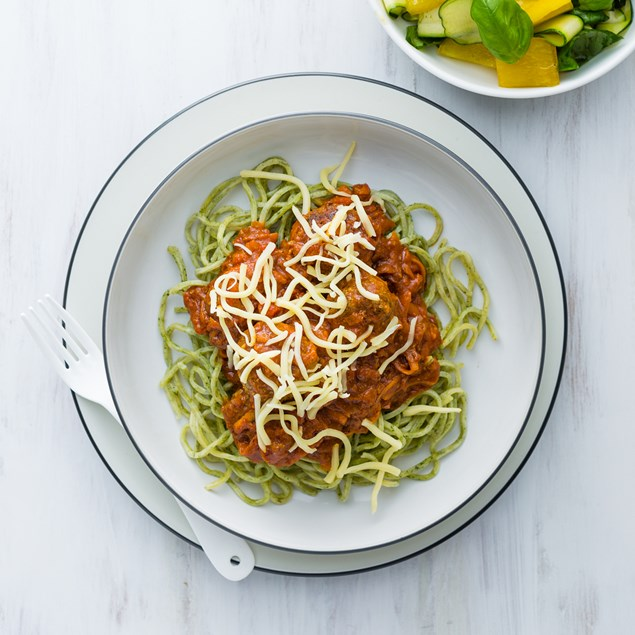 Spaghetti and Meatballs with Capsicum Salad
