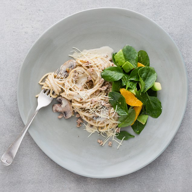 Chicken and Bacon Carbonara with Spinach Salad