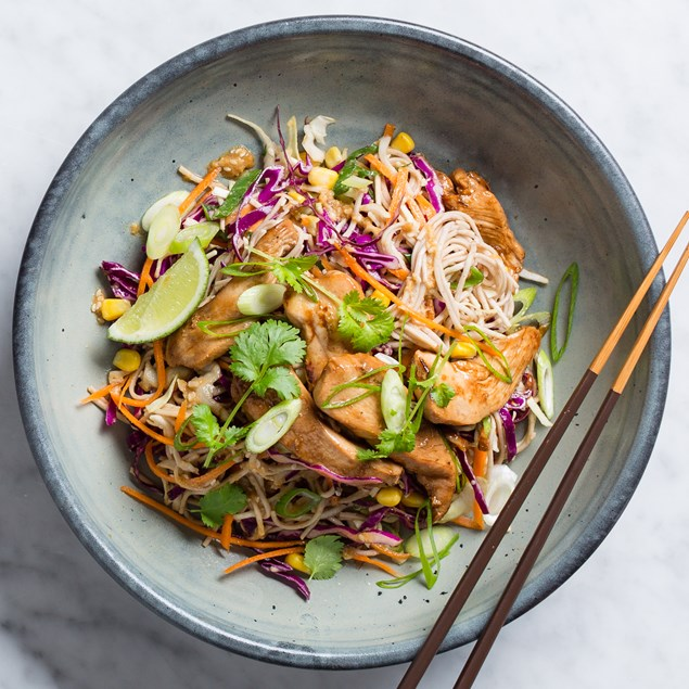 Chicken Soba Noodle Salad with Sesame Seed Dressing and Slaw