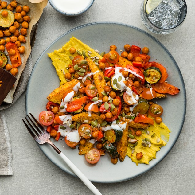 Catalonian Polenta Crusted Kumara with Romesco Roasted Chickpeas