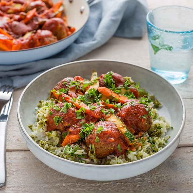Spanish Meatballs with Tomato Veggie Sauce and Salsa Verde Rice