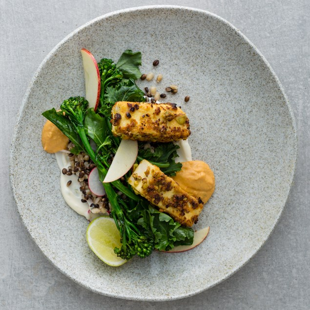 Pistachio Crusted Tofu with Charred Broccolini, Pearl Barley and Harissa Hummus