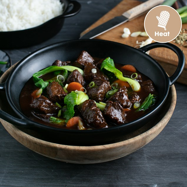 Asian Braised Beef with Spring Onion and Rice