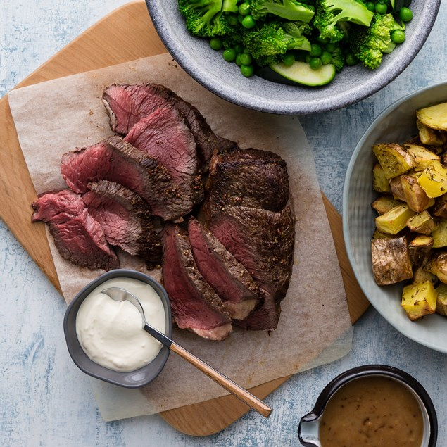 Mustard Topped Beef with Roasted Potatoes, Greens and Gravy