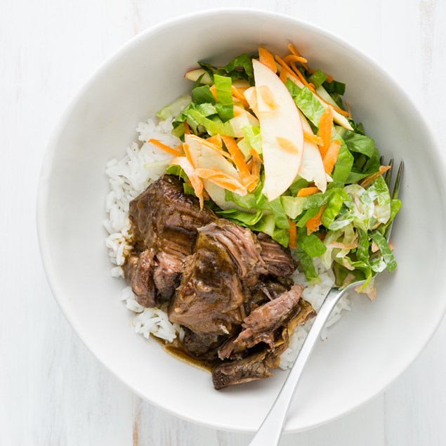 Asian Beef Short Ribs with Rice and Bok Choy Salad