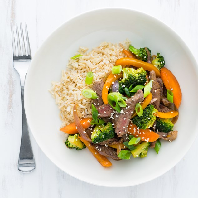 Beef and Broccoli Stir-Fry with Japanese Brown Rice