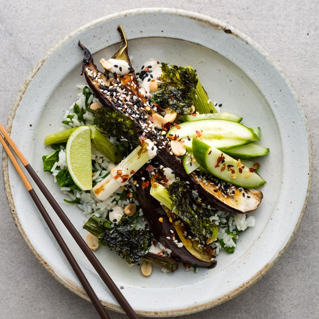 Miso Roasted Eggplant with Pickled Cucumber and Jasmine Rice