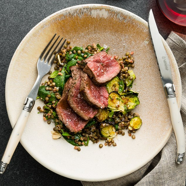 Pan Seared Venison with Lentils, Brussels and Bacon