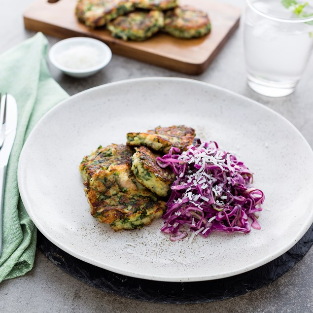 Courgette and Spinach Falafel with Coconut Slaw