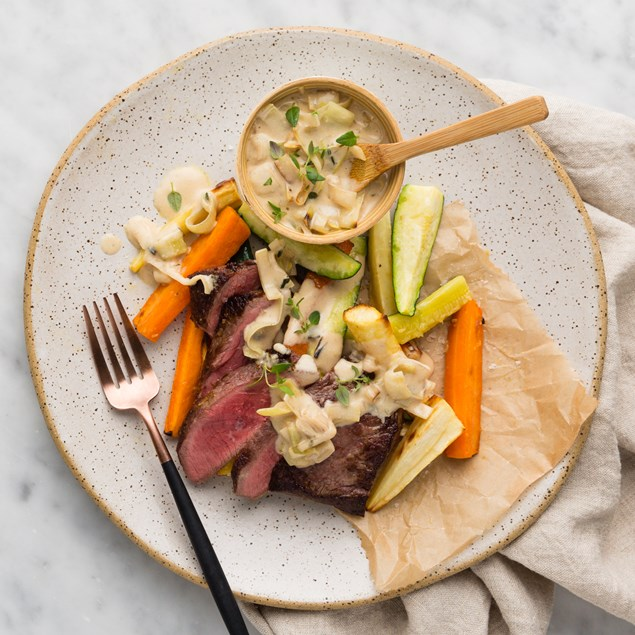 Beef Sirloin Steaks with Creamy Leeks & Thyme Roasted Vegetables
