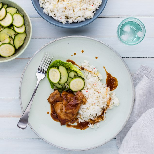 Huli-Huli Chicken with Pineapple Rice and Pickled Cucumber Salad