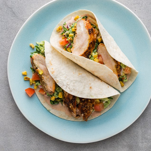 Smokin' Mexican Chicken Taco with Corn and Avocado Salsa