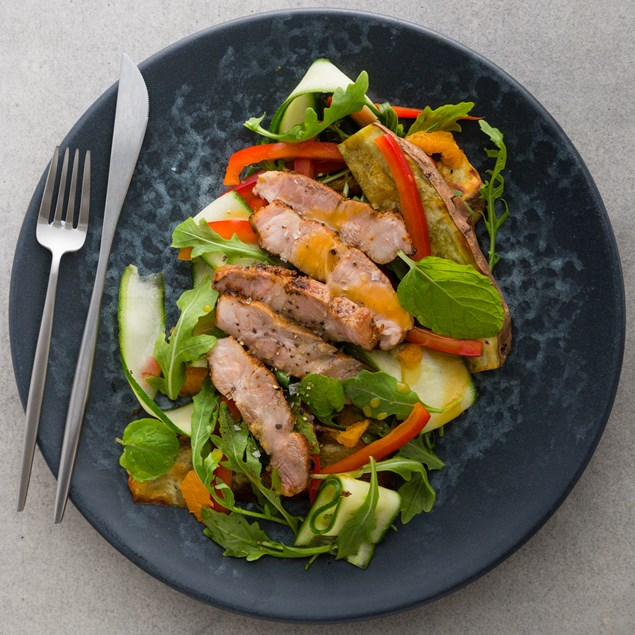 Pork, Kumara and Mandarin Salad with Orange and Saffron Dressing