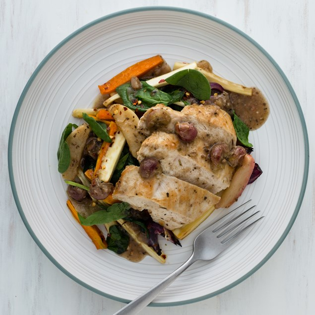 Autumn Chicken Escabeche with Roasted Carrot and Parsnip