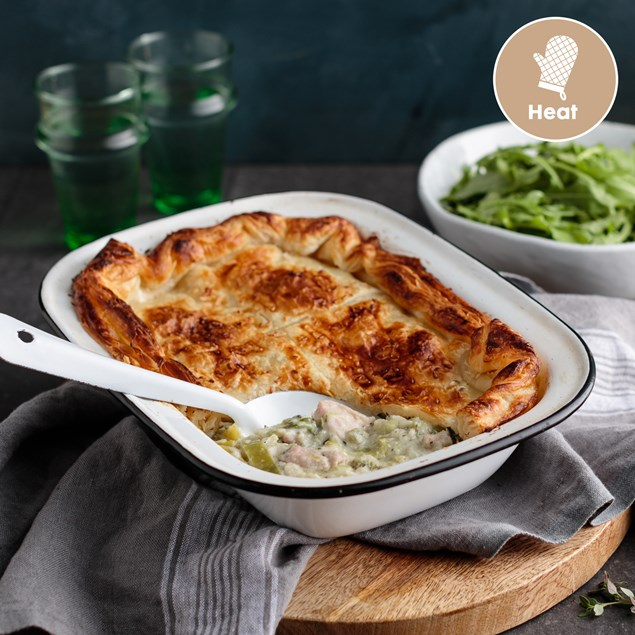 Chicken and Leek Pie with Broccoli and Apple Salad