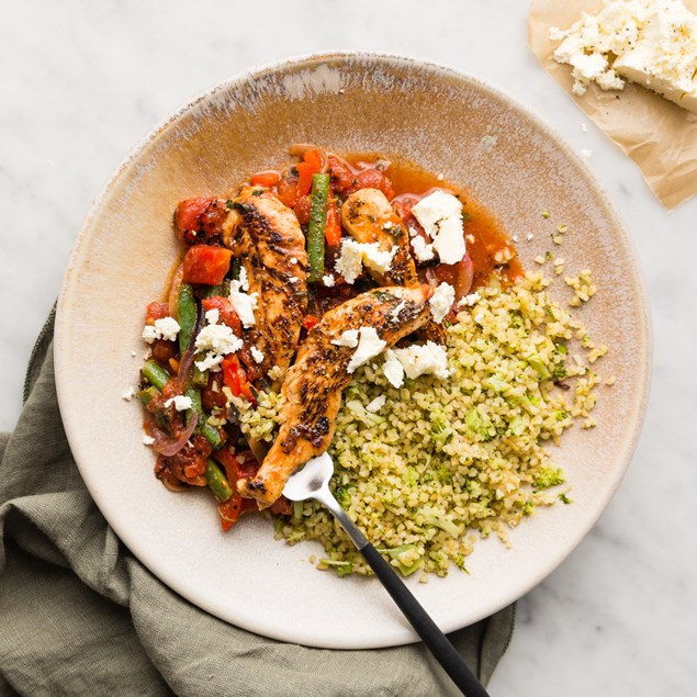 Tomato Chicken with Broccoli Bulgur and Beans
