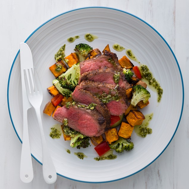 Beef Sirloin Steak with Roast Vegetable Salad and Pesto