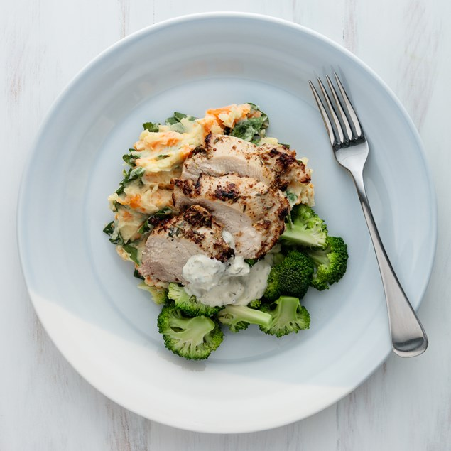 Thyme Chicken with Mash and Caper Crème
