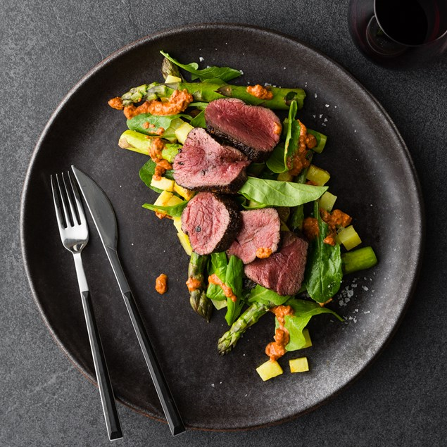 Seared Venison with Asparagus, Rocket and Sicilian Potatoes