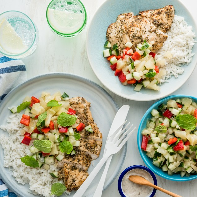 Jamaican Jerk Chicken with Coconut Rice & Pineapple Salsa