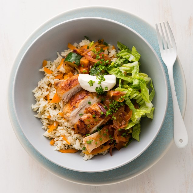 Mexican Chicken Bowl with Baked Rice and Sour Cream