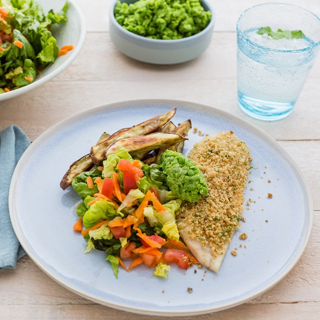 Herb-Crusted Fish N' Chips with Smashed Peas