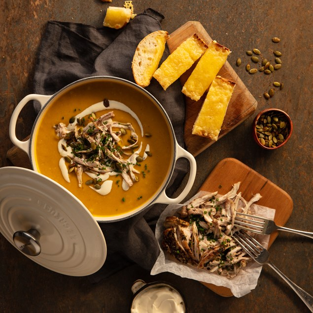 Chicken & Pumpkin Soup with Cheesy Toast
