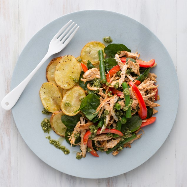 Pulled Chicken Salad with Basil Pesto