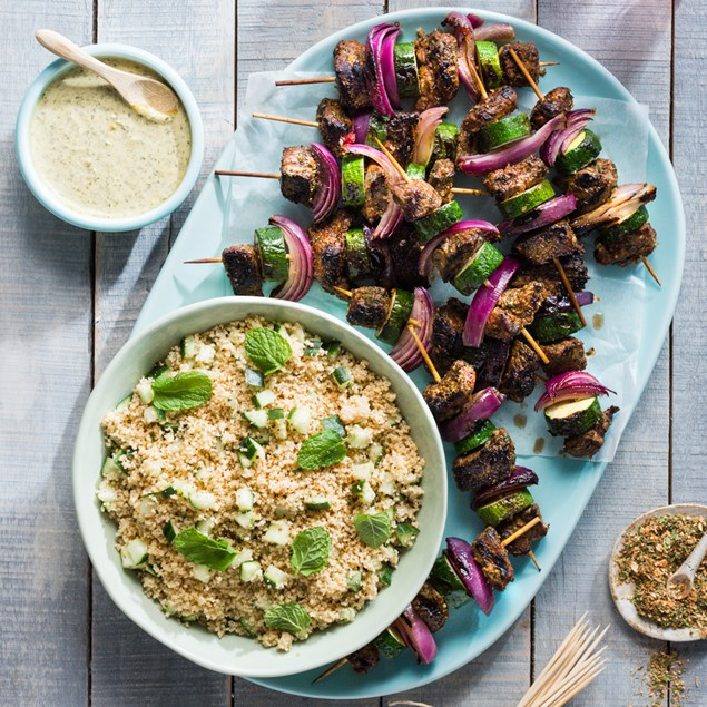 Chimichurri Beef Skewers with Spiced Couscous